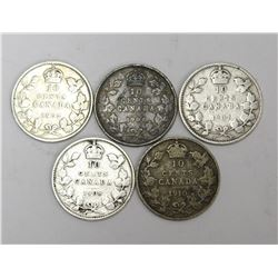 1902+1904+1907+1908+1910 Canada Silver 10 Cent Coins