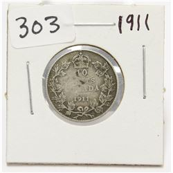 1911 Canada 10 Cent Silver Coin King George V