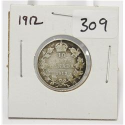 1912 Canada 10 Cent Silver Coin King George V