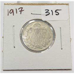 1917 Canada 10 Cent Silver Coin King George V
