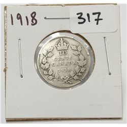 1918 Canada 10 Cent Silver Coin King George V