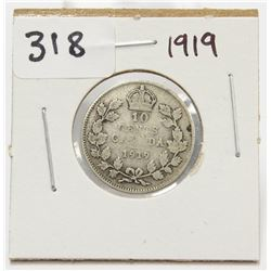 1919 Canada 10 Cent Silver Coin King George V