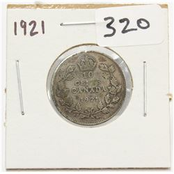 1921 Canada 10 Cent Silver Coin King George V