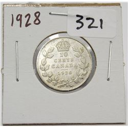 1928 Canada 10 Cent Silver Coin King George V