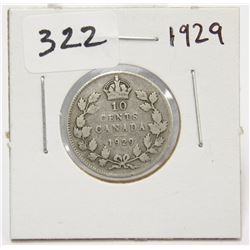 1929 Canada 10 Cent Silver Coin King George V