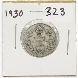1930 Canada 10 Cent Silver Coin King George V