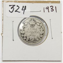 1931 Canada 10 Cent Silver Coin King George V