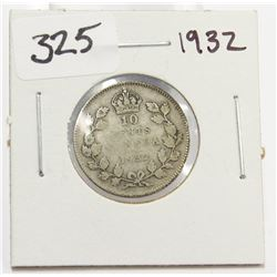1932 Canada 10 Cent Silver Coin King George V