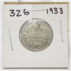 1933 Canada 10 Cent Silver Coin King George V