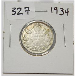 1934 Canada 10 Cent Silver Coin King George V