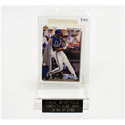 1992 Dave Winfield Signed Upper Deck Blue Jays Sports Card COA World Series Winners