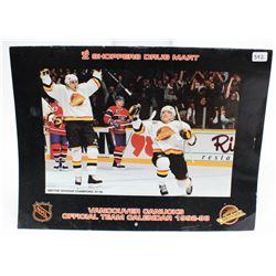 1992-93 NHL Canucks Stanley Cup Hockey Season Official Team Calendar