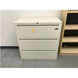 WHITE 3 DRAWER LATERAL FILE CABINET