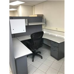 SPACE GREY U-SHAPED OFFICE CUBICLE DESK WITH OVERHEAD COMPARTMENTS, 3 DRAWER PEDESTAL & BLACK