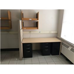 MAPLE OFFICE DESK, 3 BLACK 3 DRAWER PEDESTALS, 6 OAK WALL SHELVES, 2 MAPLE OVER HEAD COMPARTMENTS