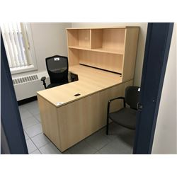 MAPLE L-SHAPED OFFICE DESK WITH HUTCH & 2 DRAWER PEDESTAL