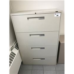 GREY 4 DRAWER LATERAL FILE CABINET & 3 DRAWER PEDESTAL