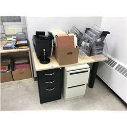 MAPLE OFFICE DESK, 3 DRAWER PEDESTAL, 2 DRAWER PEDESTAL & OFFICE CONTENTS