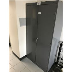 GREY METAL 2 DOOR CONSUMABLES CABINET WITH FIRST AID CONTENTS