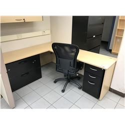 MAPLE L-SHAPED OFFICE DESK WITH OVERHEAD COMPARTMENT, 3 DRAWER PEDESTAL, 2 DRAWER LATERAL FILE &