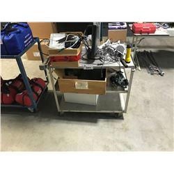 SILVER 3 TIER METAL MOBILE SHOP CART & ELECTRICAL CONTENTS