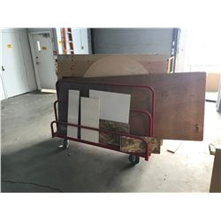 RED MOBILE PANEL CART WITH WOOD