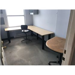 CONTENTS OF SHOP OFFICE: DESK, TABLE, DRAFTING STOOL, 2 MAPLE HUTCHES, 2 LOCKERS & MISC.