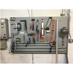 ASSORTED PIPE CLAMPS & HAND TOOLS LOCATED ON WALL