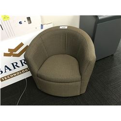 BROWN PATTERNED RECEPTION TUB CHAIR