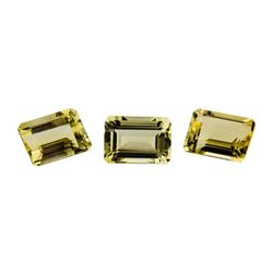 21.87 ctw.Natural Emerald Cut Citrine Quartz Parcel of Three