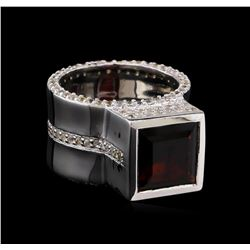 Crayola 4.20 ctw Garnet and White Sapphire Ring - .925 Silver