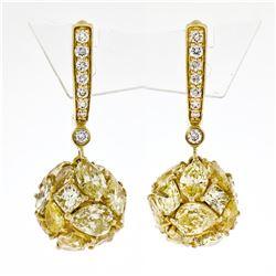 10.13 ctw Fancy Intense Yellow & Brilliant Diamond Drop Ball Earrings