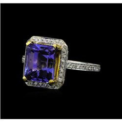 4.76 ctw Tanzanite and Diamond Ring - 18KT White and Yellow Gold