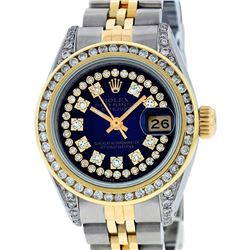 Rolex Ladies 2 Tone 14K Blue Vignette String Diamond Channel Set  Datejust Wrisw