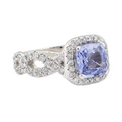 2.48 ctw Sapphire and Diamond Ring - 14KT White Gold