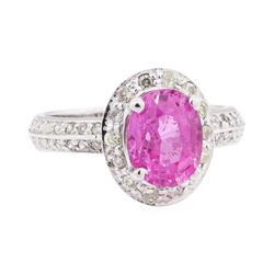 2.02 ctw Pink Topaz and Diamond Ring - 14KT White Gold