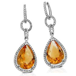 14k White Gold 10.90CTW Diamond and Citrine Earrings, (Gold)