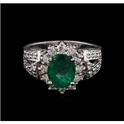 1.92 ctw Emerald and Diamond Ring - 14KT White Gold