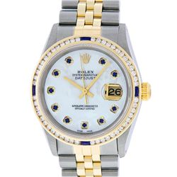 Rolex Mens 2 Tone 14K MOP Sapphire Diamond Channel Set Datejust Wristwatch