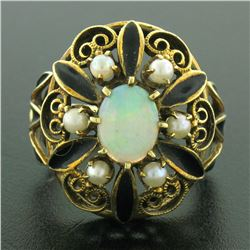 14k Yellow Gold Opal Pearl Black Enamel Large Dome Ladies Cocktail Ring