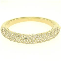 18k Yellow Gold 15.90 ctw Pave Set F VS Round Diamond Dome Bangle Bracelet