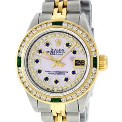 Rolex Ladies 2 Tone 14K MOP Sapphire & Diamond Datejust Wristwatch
