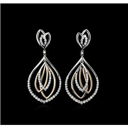 1.83 ctw Diamond Earrings - 14KT Rose and White Gold