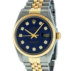 Rolex Mens 2 Tone 14K Blue Diamond 36MM Datejust Wriswatch