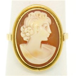 18k Yellow Gold Carved Shell Cameo Ring w/ Simple Polished Frame