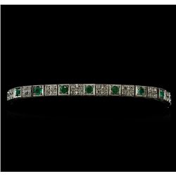 1.53 ctw Emerald and Diamond Bracelet - 14KT White Gold