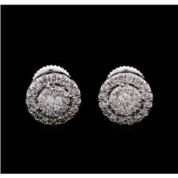 1.00 ctw Diamond Earrings - 14KT White Gold