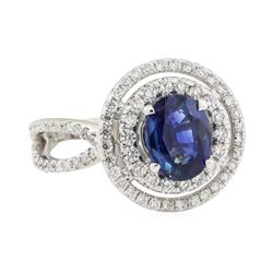 2.64 ctw Sapphire and Diamond Ring - 18KT White Gold