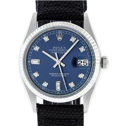 Rolex Mens Stainless Steel Blue Diamond 36MM Datejust Wristwatch With Nylon Stra