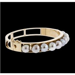 14KT Yellow Gold Pearl Bangle Bracelet